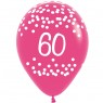 Multi Coloured 60th Birthday Balloons Pink Balloon at Fancy Dress and Party