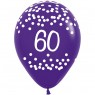 Multi Coloured 60th Birthday Balloons Purple Balloon at Fancy Dress and Party