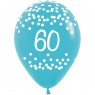 Multi Coloured 60th Birthday Balloons Blue Balloon at Fancy Dress and Party