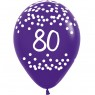 Multi Coloured 80th Birthday Balloons Purple Balloon at Fancy Dress and Party