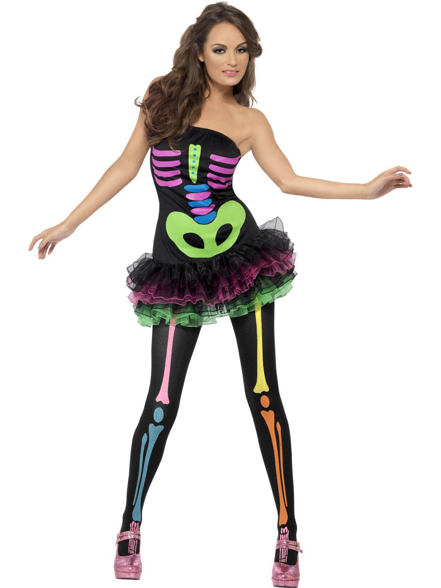 Neon Skeleton Costume Fancy Dress And Party