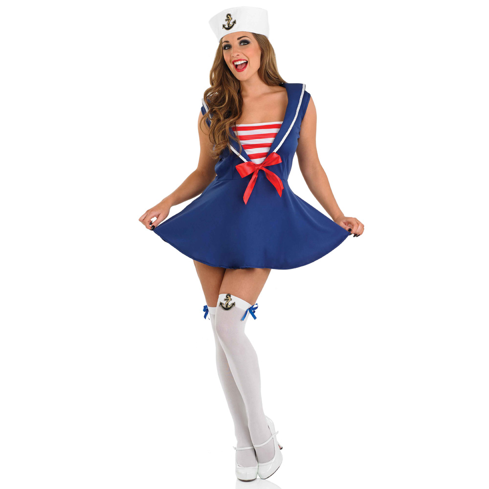 Female blue and white striped sailor sexy fancy dress costume